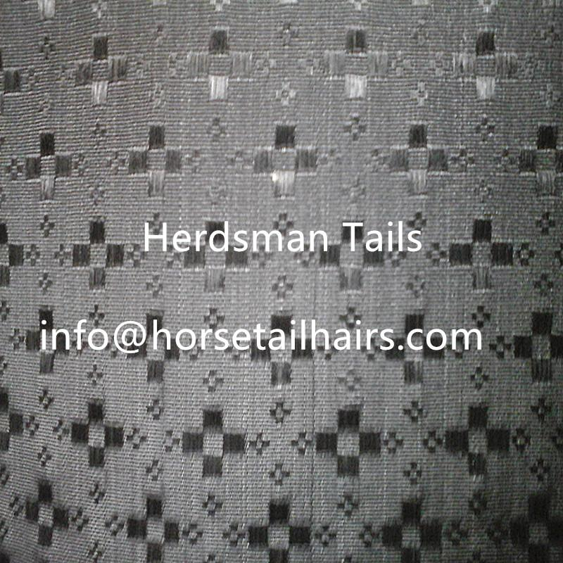 """23-27"""" upholstery horse hair fabric with black satin plaine weave design  3"""