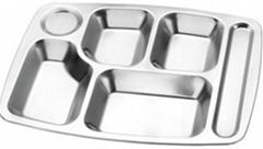 大六格快餐盘不锈钢学生餐盘