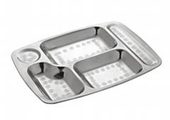 大五格快餐盤不鏽鋼學生食堂快餐盤
