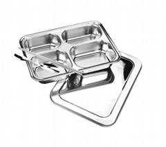 潮州快餐盘四格不锈钢带盖儿童卫生快餐盒