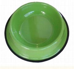 不鏽鋼寵物盆生產出口彩色烤漆印花貓碗廣東廠家
