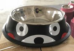不锈钢宠物碗彩色印花猫狗碗食盆