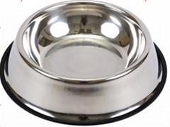 不锈钢宠物碗狗盆生产出口彩色防滑印花猫碗广东厂家