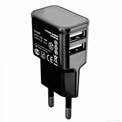 EU plug 5V/2.1A Dual port USB Mobile Phone Charger