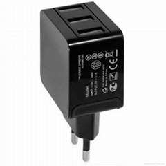 EU plug 5V/3.1A 3usb ports portable mobile phone charger