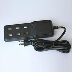 AU US UK EU plug 5V/4.5A 6ports Multi USB Mobile Phone Charger