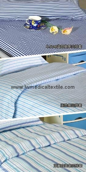 Hospital Bed Linen with stripes (bed sheet, pillow case and duvet cover) 3