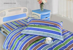 Hospital Bed Linen with stripes (bed sheet, pillow case and duvet cover)