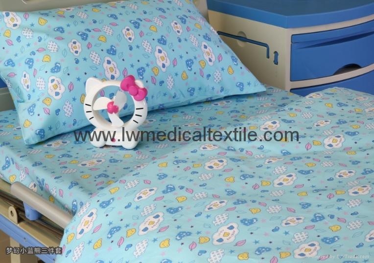 Hospital Bed Linen with carton design (bed sheet, pillow case duvet cover)  4