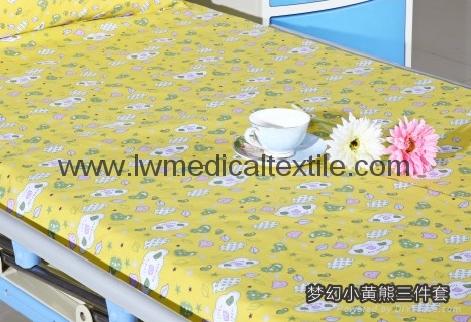 Hospital Bed Linen with carton design (bed sheet, pillow case duvet cover)  1