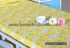 Hospital Bed Linen with carton design (bed sheet, pillow case duvet cover)