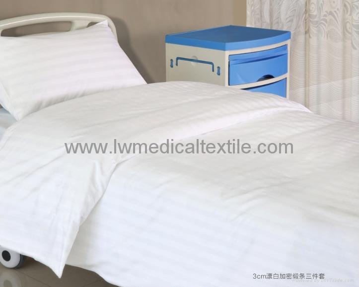 satin stripes Hospital Bed Linen (bed sheet pillow case duvet cover) 2