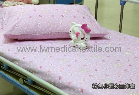 Hospital Bed Linen with flower design (bed sheet, pillow case duvet cover)  1