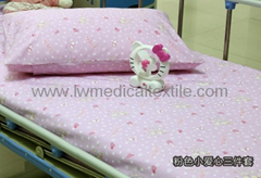 Hospital Bed Linen with flower design (bed sheet, pillow case duvet cover)