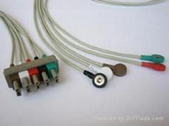 太空五導扣式心電導聯線