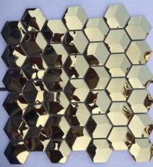 六角形不锈钢马赛克 金属马赛克