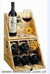 松木六瓶装酒盒酒架