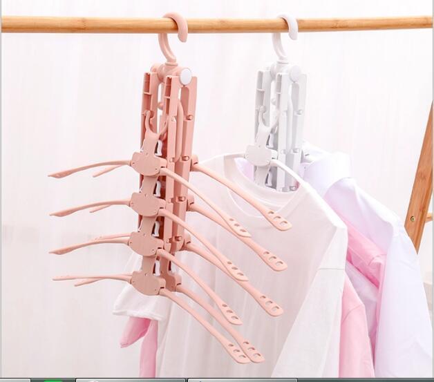 folding Swivel plastic clothes hanger for clothes 8 ranks set 3