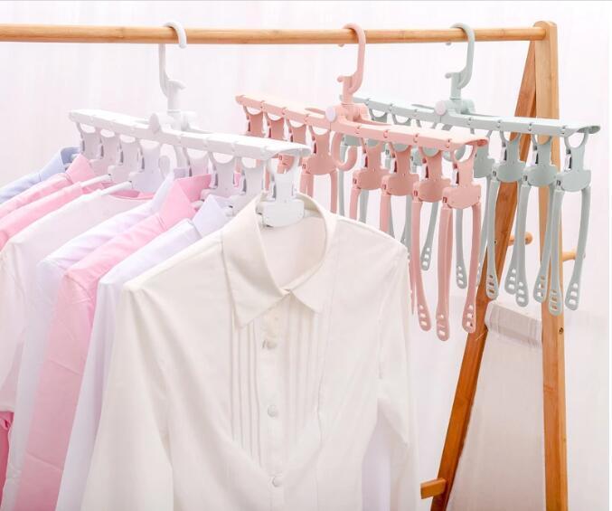 folding Swivel plastic clothes hanger for clothes 8 ranks set 5