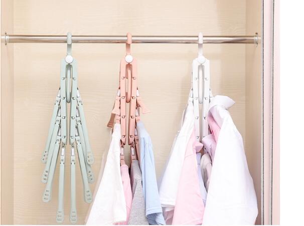 folding Swivel plastic clothes hanger for clothes 8 ranks set 17