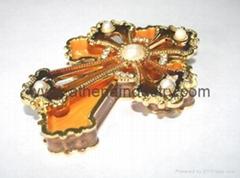 Cross metal enameled Jewelry box