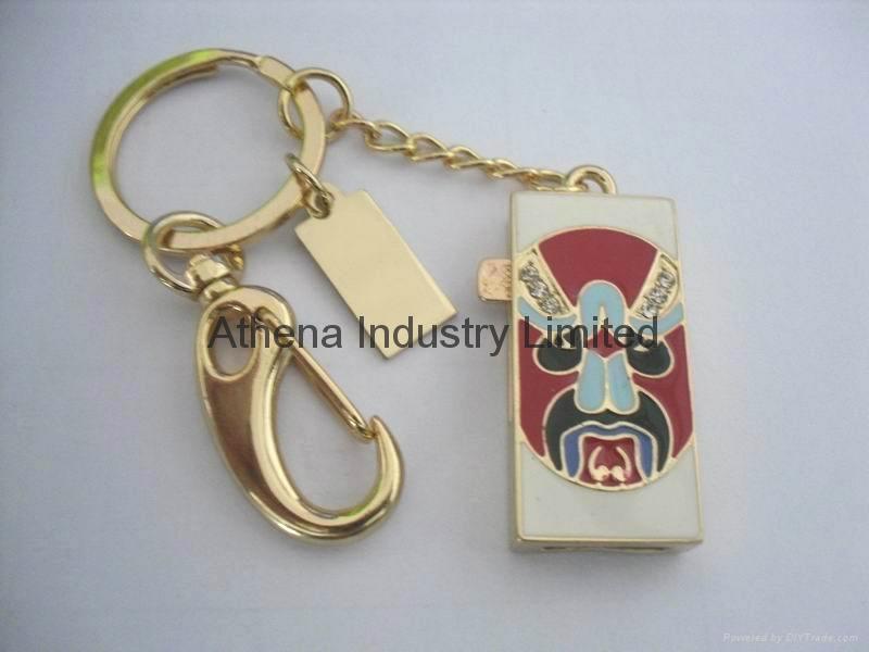Enamel China opera mask metal USB driver jewelry 1
