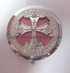 十字架手工艺滴油金属化妆镜