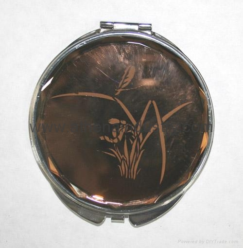 Antique novelty flower metal compact mirror 1