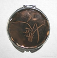 Antique novelty flower metal compact mirror
