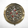 Antique metal elegant compact mirror