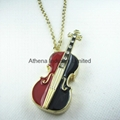 Novelty fashion metal violin solid perfume container necklace