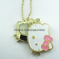 Hello Kitty metal solid perfume container necklace