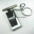 Rectangle metal small photo frame keyring with crystals