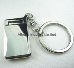 Rectangle small rotatable metal photo frame keyring