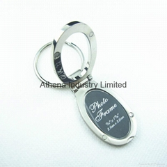 Oval small metal photo frame keyring