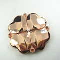 Rose gold plated clover metal compact mirror