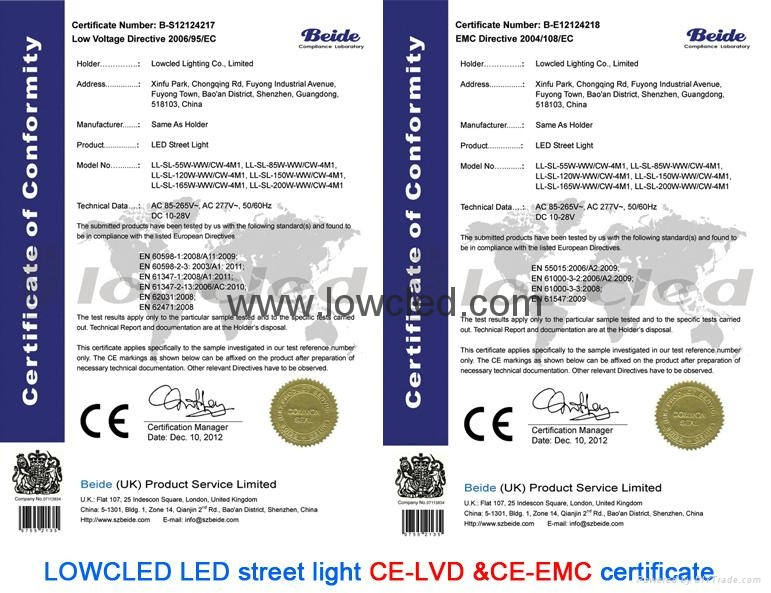 IP65 120W/160W/200W CREE, Bridgelux MEAN WELL led street light with CE, ROHS 10