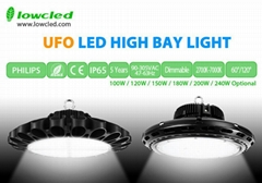 100W UFO Philips+MEAN WELL IP65 LED High