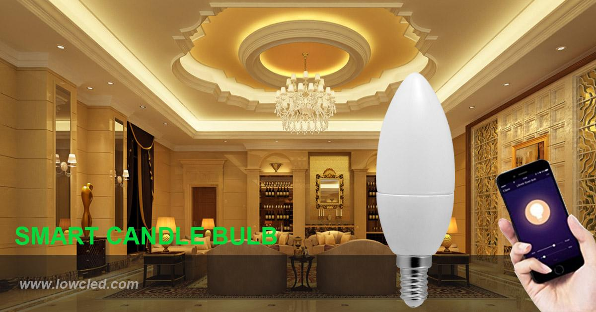E14 smart WIFI 5W CCT adjustable LED candle bulb work with alexa 4