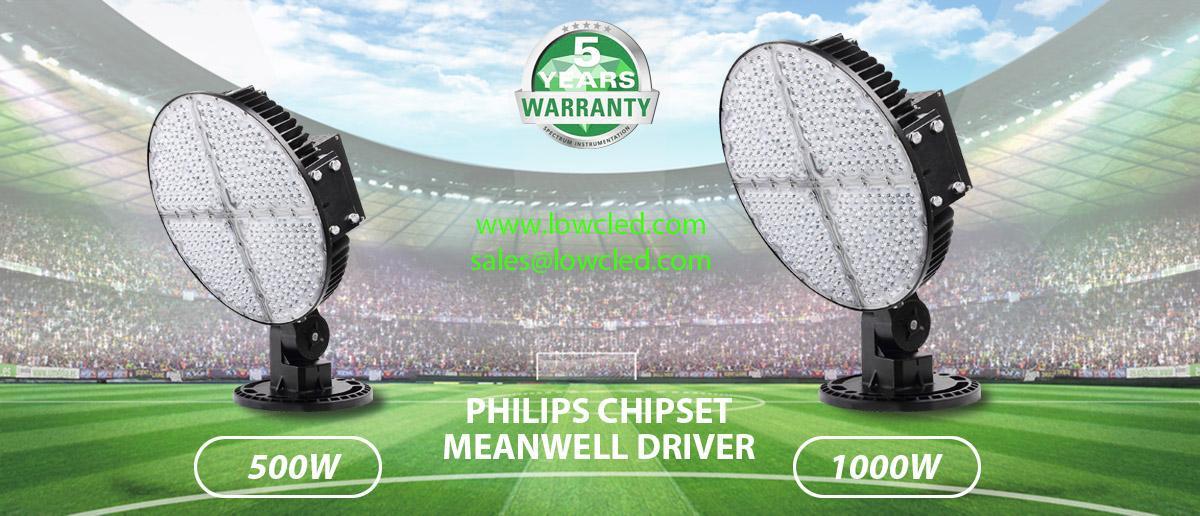 LOWCLED 1000Watts 150LM/W IP65 LED Floodlight led stadium lighting Sports light 1