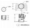 COB round 5W trimless modular led downlight