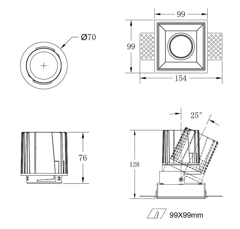 COB Square 25W trimless modular led downlight 2