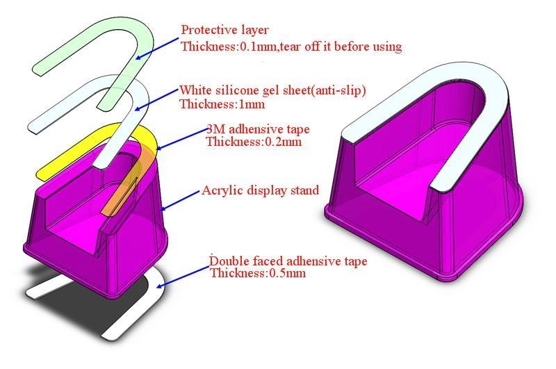 手機防盜展示標配亞克力托架 U形手機模型展示架 平板展示架 2