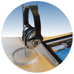 亚克力挂钩耳机架  耳机座有机玻璃金属耳塞展示架 2