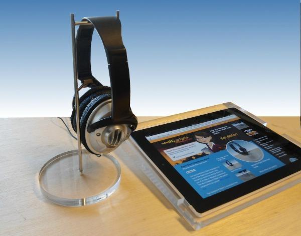 亚克力挂钩耳机架  耳机座有机玻璃金属耳塞展示架 5