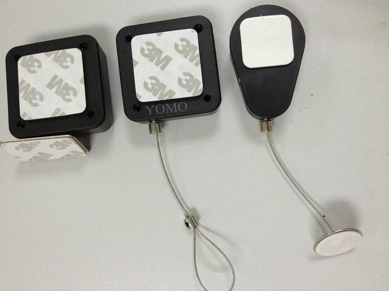 Retractable Security Cable Tether : Drop shaped store display security tether cable retractors