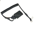 Tactical Pistol Retention Coiled Wire W/Rubber Exterior Laminate Lanyard