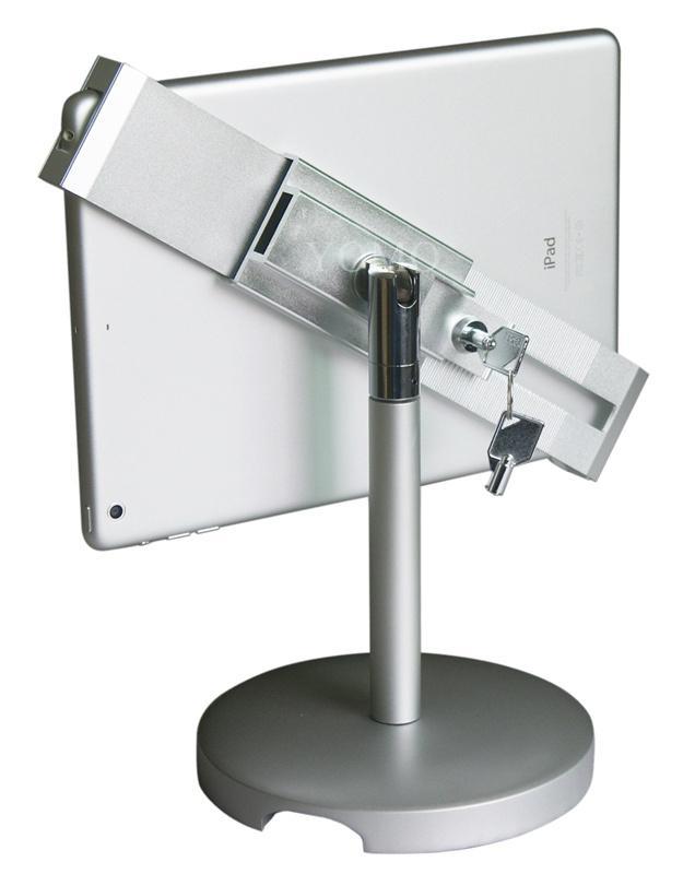 桌面防盜平板電腦支架 平板電腦展示支架 帶鎖對角夾支架 3