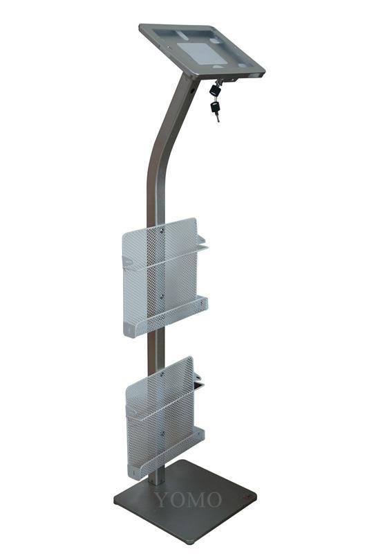 Workstation iPad Kiosk Stand Ipad Bracket Locking Clamshell with magazine rack 3
