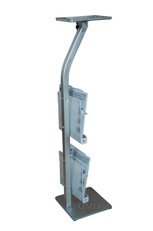 Workstation iPad Kiosk Stand Ipad Bracket Locking Clamshell with magazine rack 7